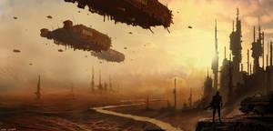 ships over desert by 5ofnovember