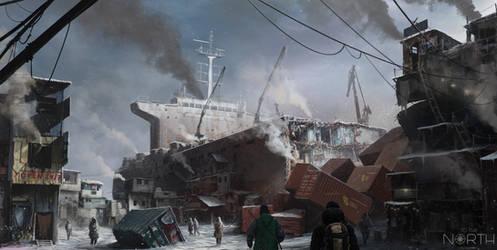 ToTheNorth  - cargo ship village by 5ofnovember