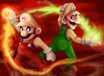 Fire Mario and Luigi