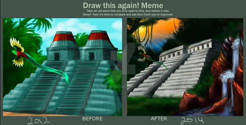 Draw This Again: Aztec temple.