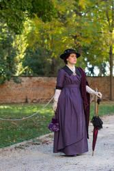 1912 day dress in purple cotton by DanielleFiore