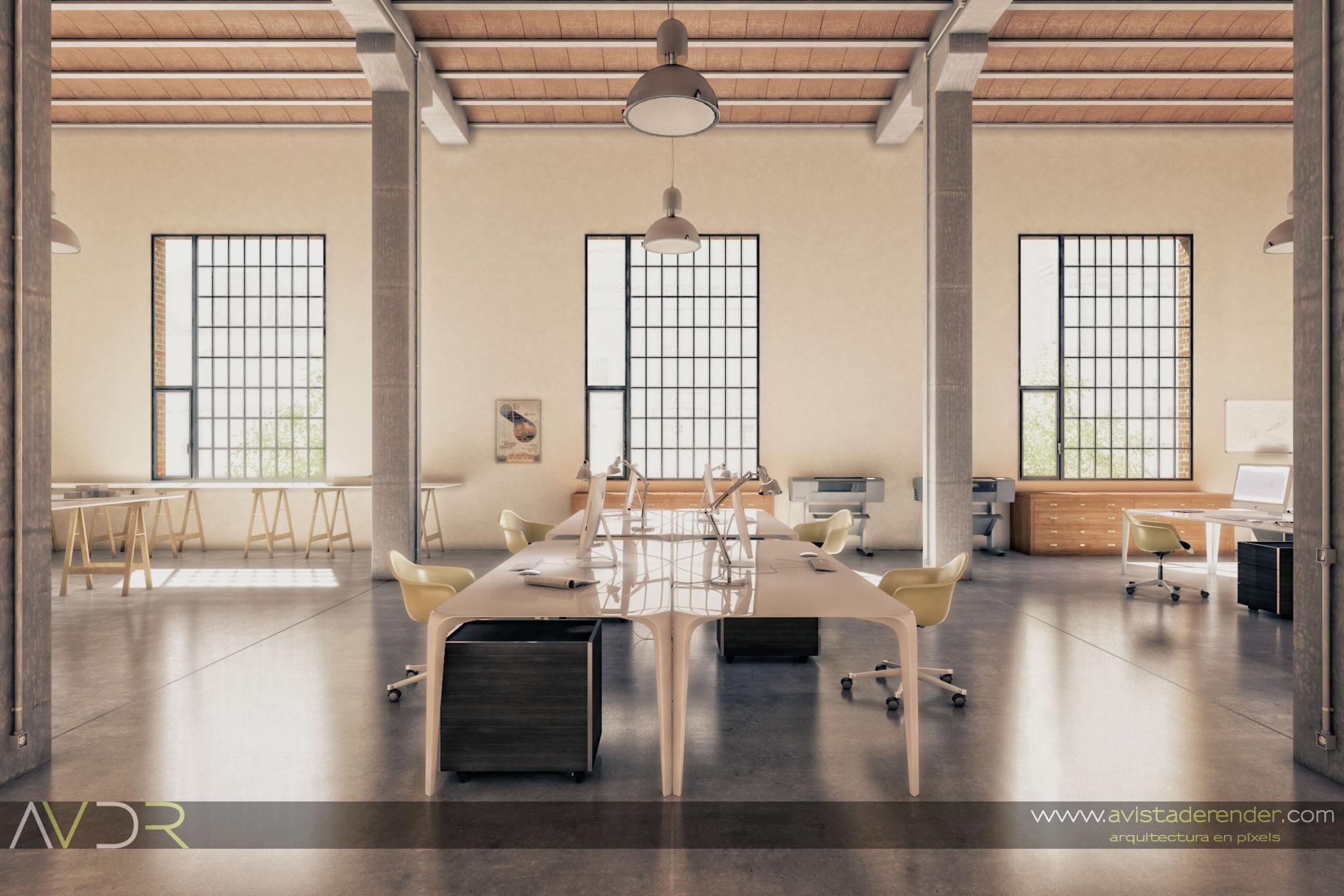 Render Estudio Arquitectura Mesas De Trabajo By
