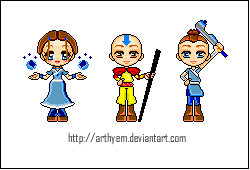 Avatar: Katara, Aang, Soka by Arthyem