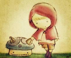 Little Red and Mushroom Wolf by mutatedMILKFISH