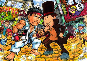 Street Fighter vs Prof Layton by Djiguito