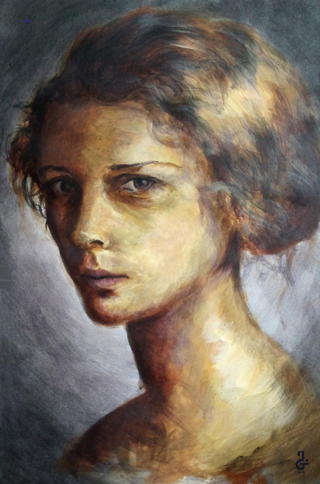woman portrait acrylic painting by lu0ren on deviantart