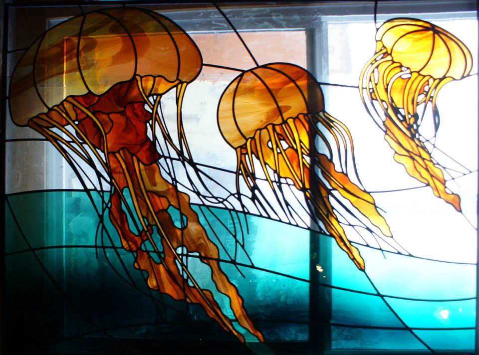 Stained glass jelly fish by premar16 on deviantart for Stained glass fish