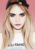 Cara Delevingne pencil portrait by Dacdacgirl