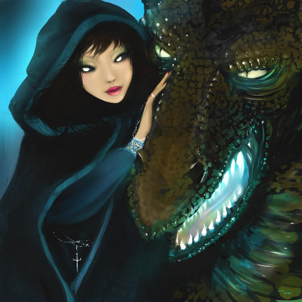 Dragon and girl by RiraR