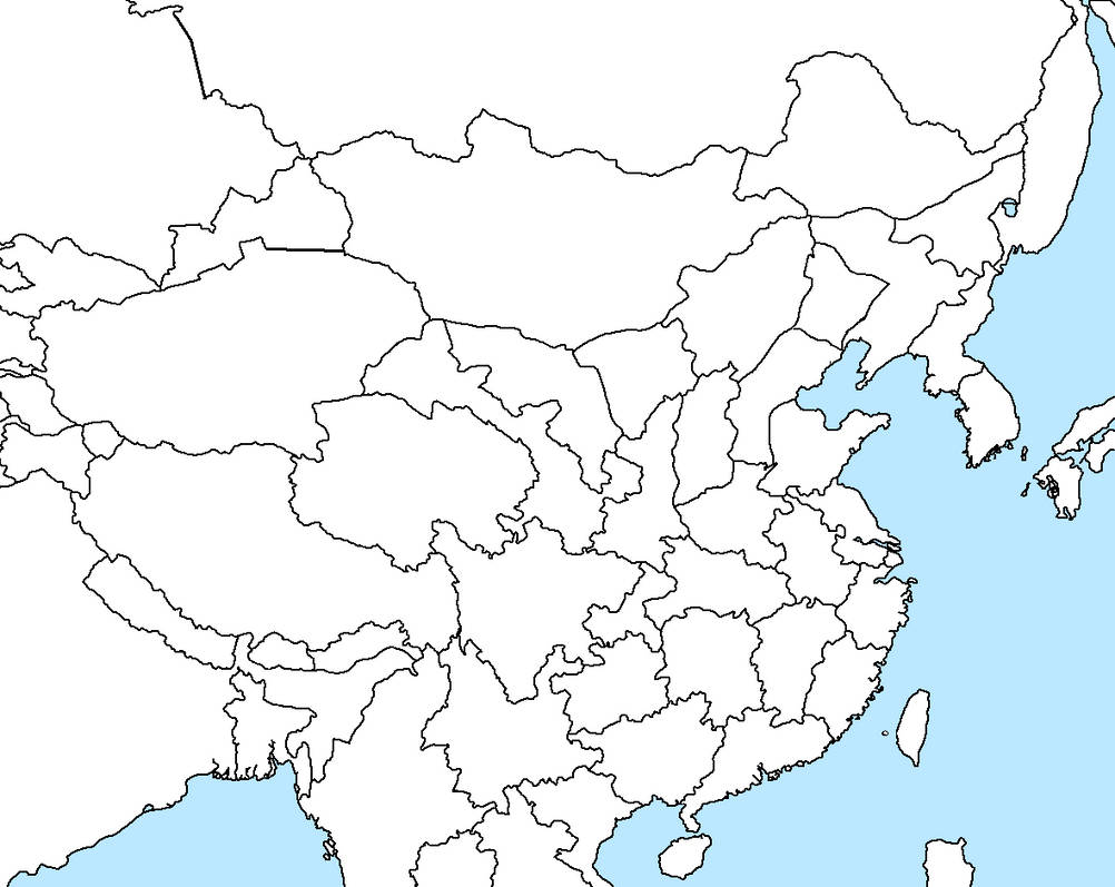 East Asia Map blank (with original borders China) by Stephen ...