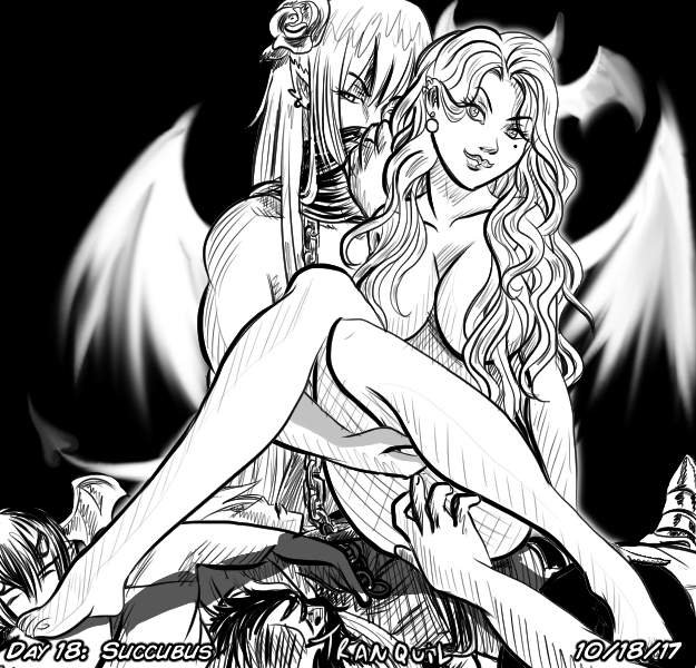 Inktober 10-18-17 Succubus by Tranquil-R