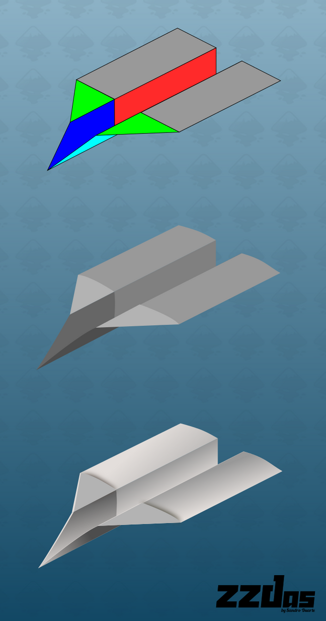 Paper plane process (Inkscape - vector) by ZZDas