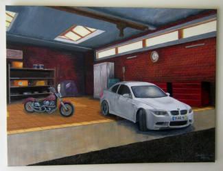 Garage by Sandro Duarte - gouache on canvas