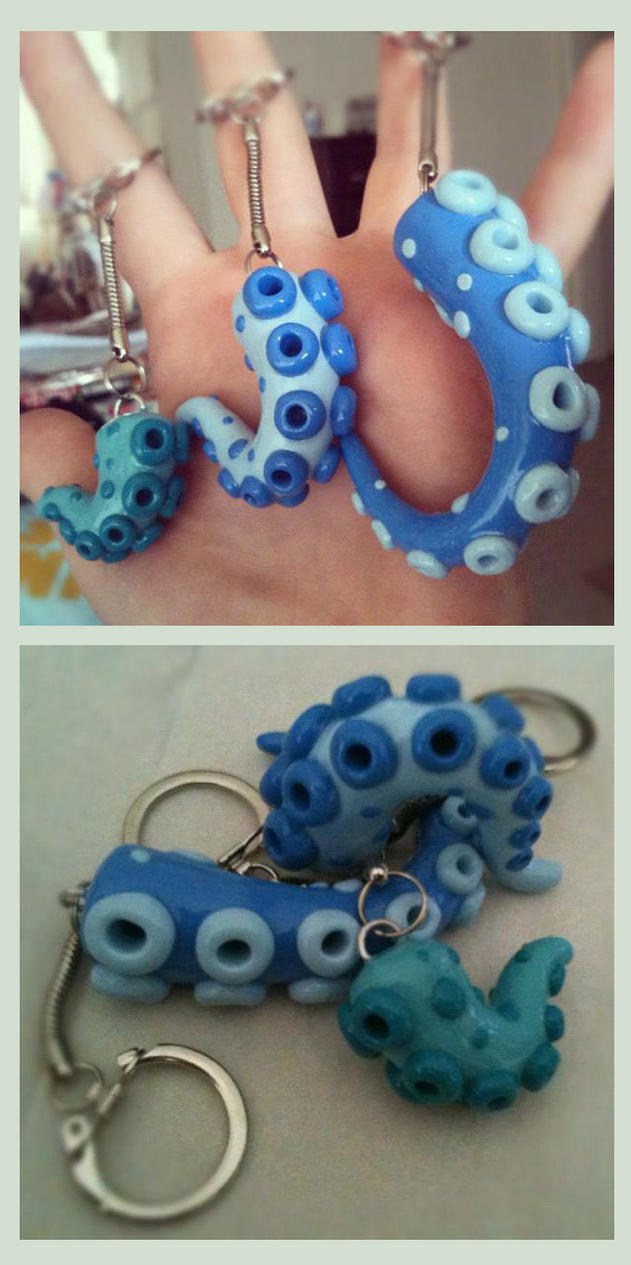 Tentacle Key Chains Blue by KTOctopus