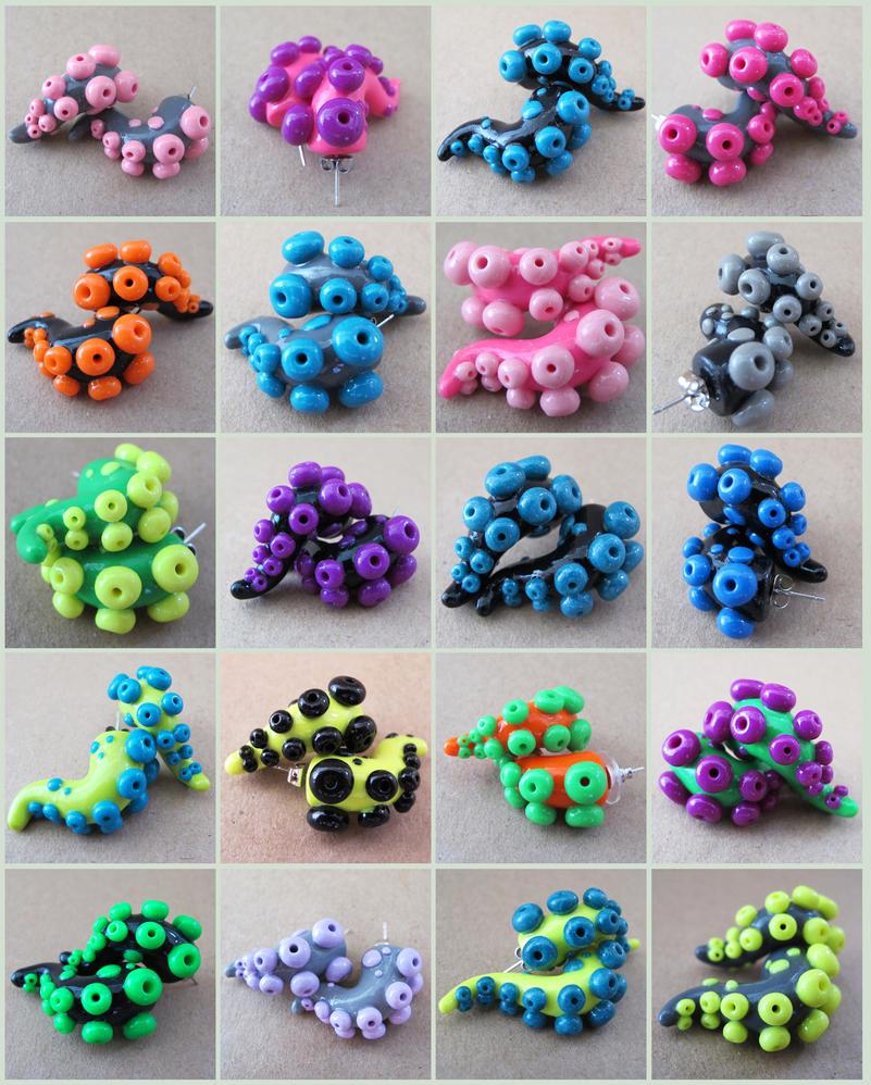 Tentacle Earrings Fanime 1 by KTOctopus