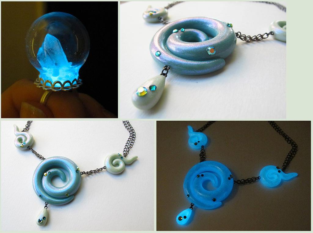 Glow Aqua jewelry by KTOctopus