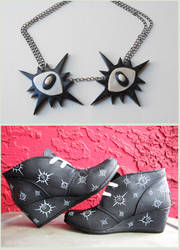Eye shoes and necklace by KTOctopus