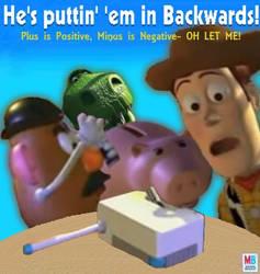 He's puttin' 'em in Backwards! by mrlorgin