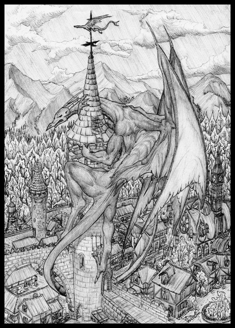 Dragon, in black ballpoint 2. by White-Dragon-NL