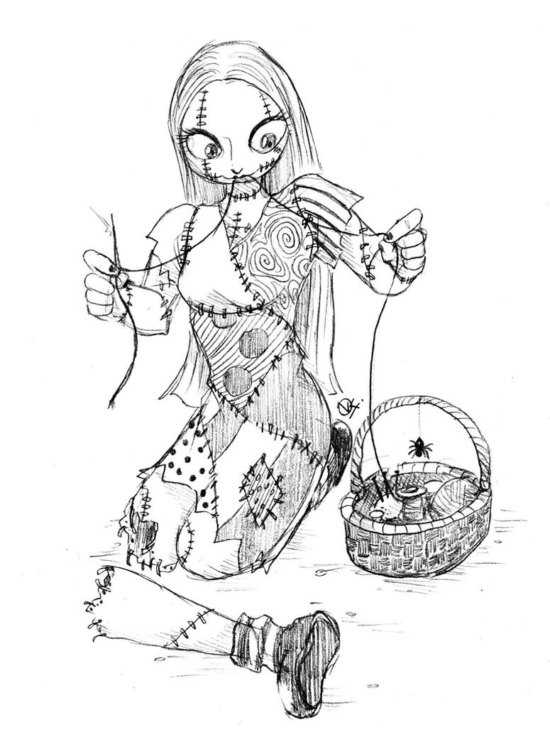 Sewing sally by fellow traveller on deviantart for Nightmare before christmas coloring pages