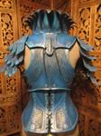 Women's Leather Armor, rear view- Blue Jay