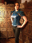 Women's Leather Armor, in action- Blue Jay