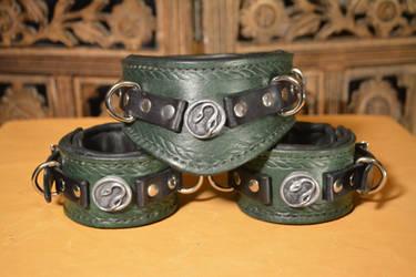 Slytherin Collar and Cuffs by SavagePunkStudio