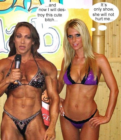 Manip: Muscle girl and bikini beauty before match by wsaef
