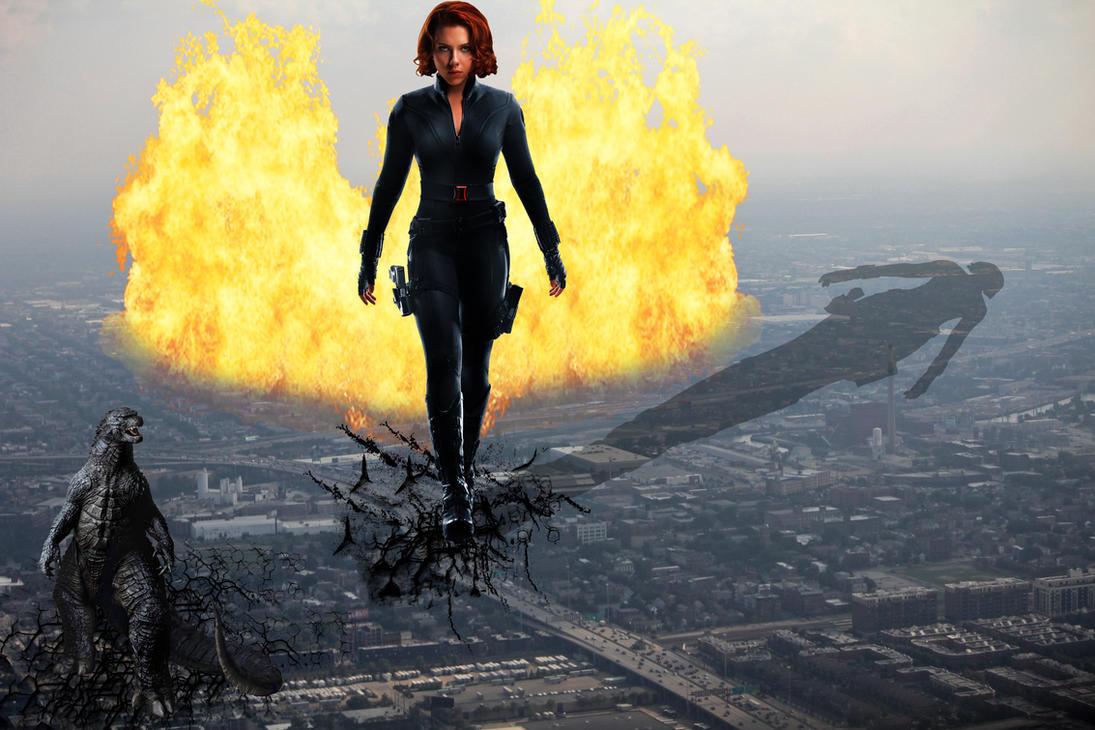 Mega Giantess Black Widow vs  Godzilla by darthbriboy