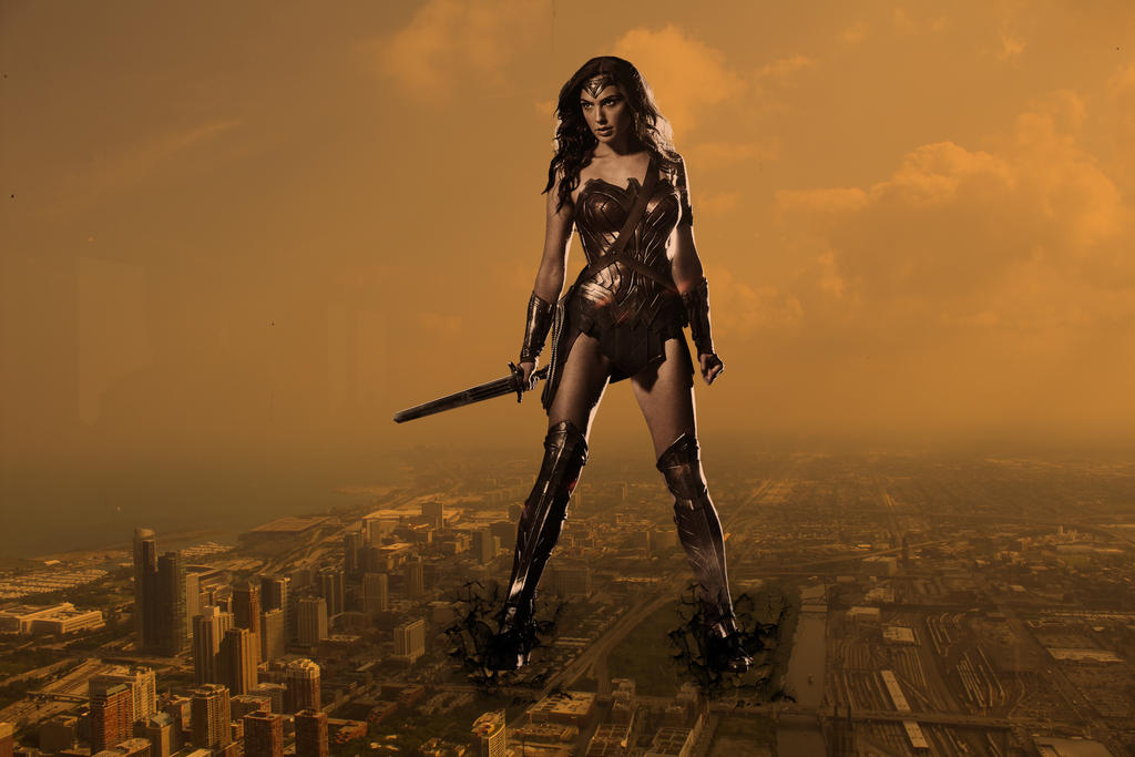 Wonder Woman Is Now Godzilla by darthbriboy