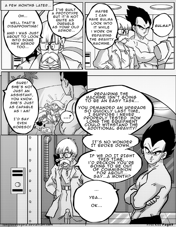 Dbz: Bulma and Vegeta -Firstkiss: Chapter 1, Pg9 by longlovevegeta