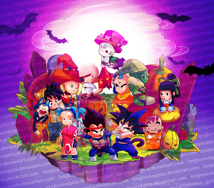 Chibi Dragonball Halloween by longlovevegeta