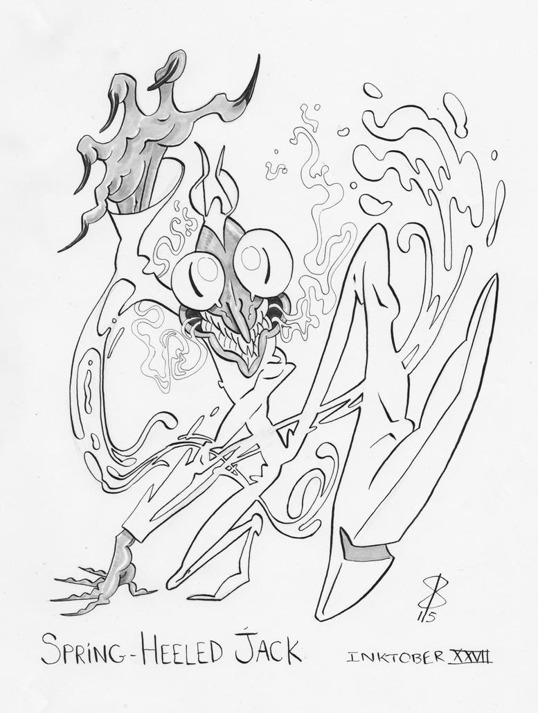 Inktober XXVII Spring-Heeled Jack by ReineDesCanards