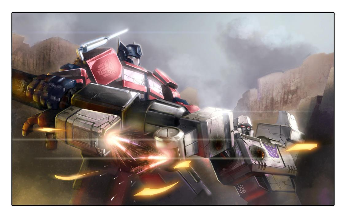 [Pro Art et Fan Art] Artistes à découvrir: Séries Animé Transformers, Films Transformers et non TF - Page 4 Optimus_prime_vs_megatron_by_geeshin-d4ak3wc