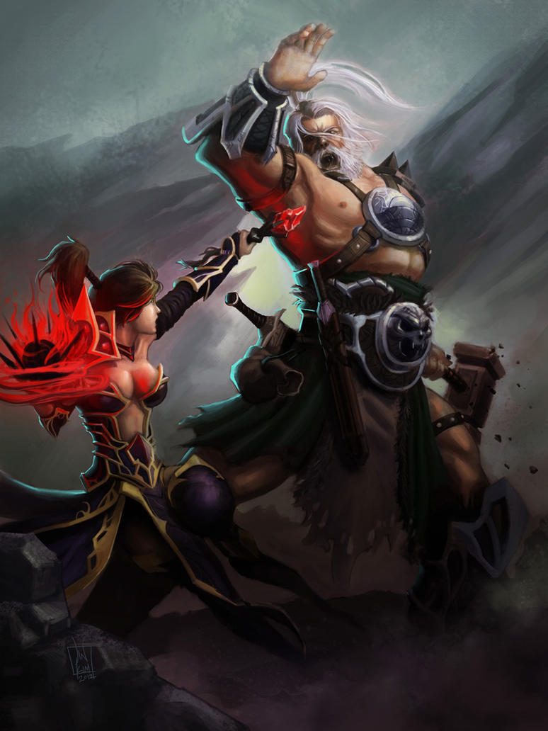 Barbarian VS Wizard by geeshin