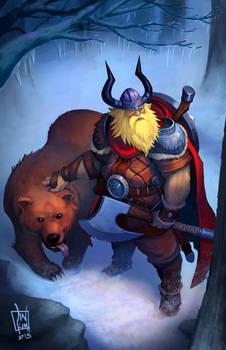 Viking and his pet bear