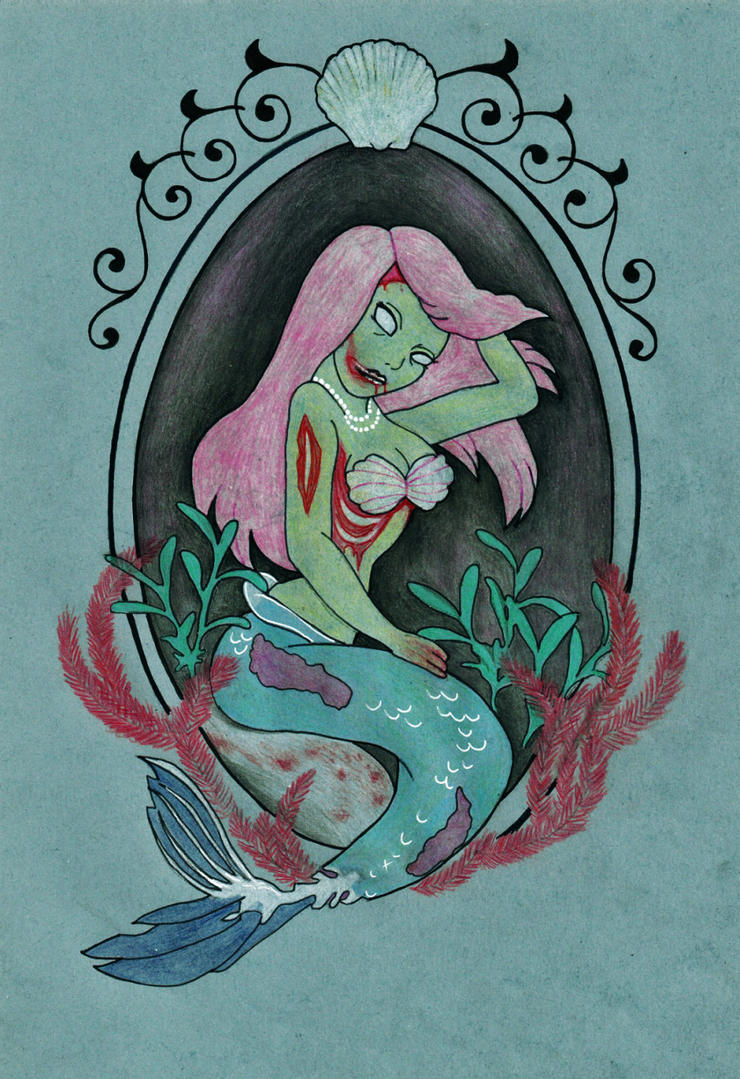 Pink-haired Mermaid Zombie cartoon style by DirtyLittleDog