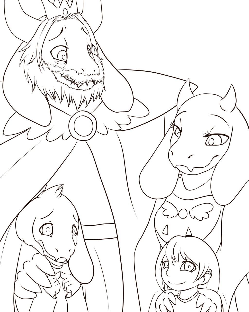 Undertale collab family by randomcomicsheet on deviantart for Undertale coloring pages