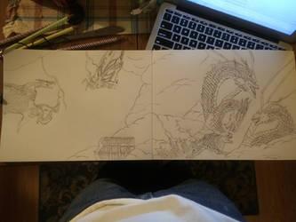 Godzilla Kotm sketch by Arowe01