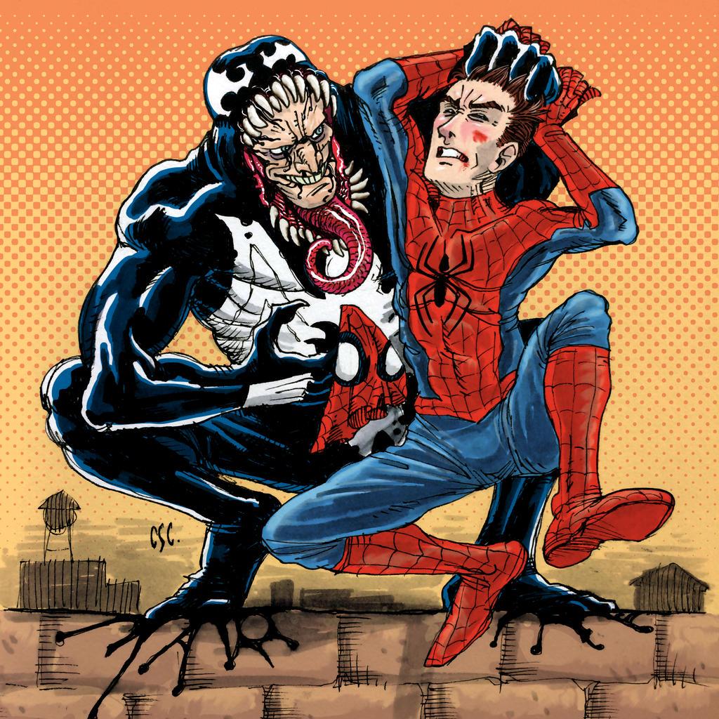 Venom catches Spidey by cassioscosta