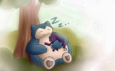 Snorlax and Banette by Vanelia27
