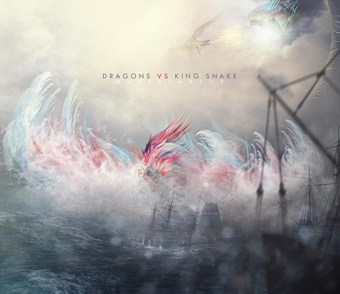 Dragons Vs King Snake by Mustafa9119
