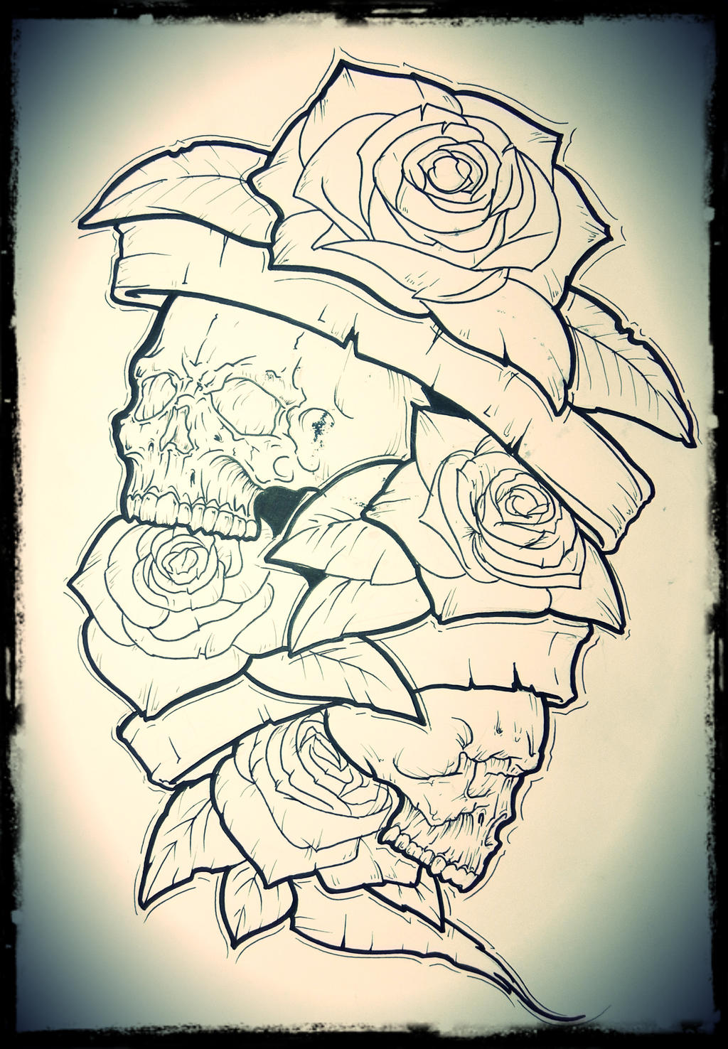 New school skulls with roses ant tapes by TimHag on DeviantArt