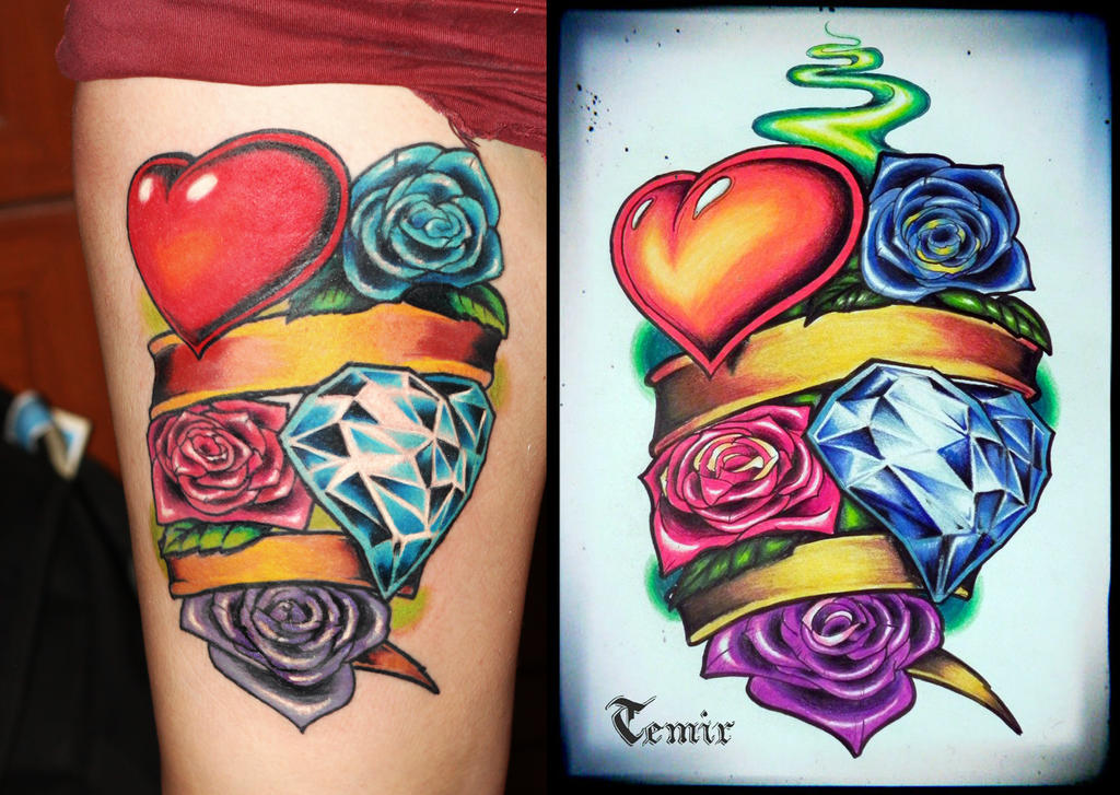 New school roses and hearth in line tattoo by TimHag on DeviantArt