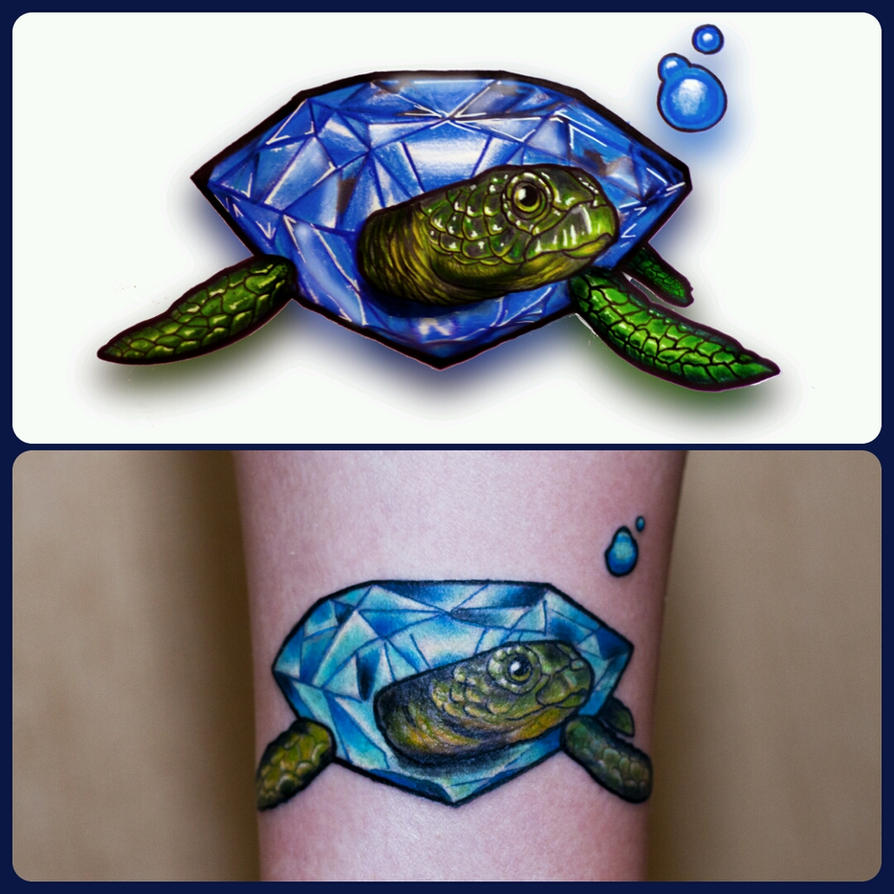 Diamond turtle tattoo by TimHag