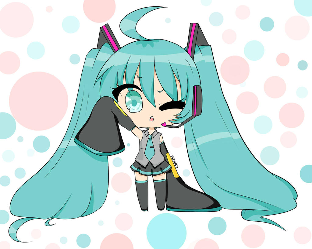 Chibi Miku by whitematterartist
