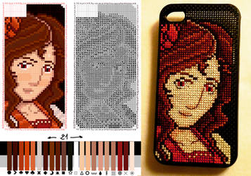 Lena - Cross Stich Iphone Case by Neeolah