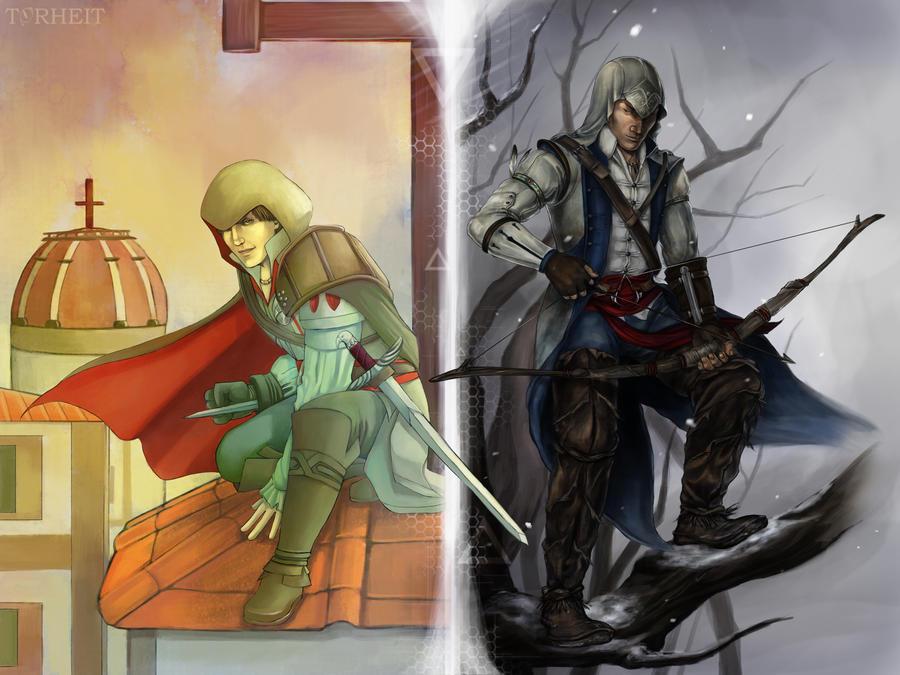 AC - Ezio and Connor Collab by Torheit-die-Katze