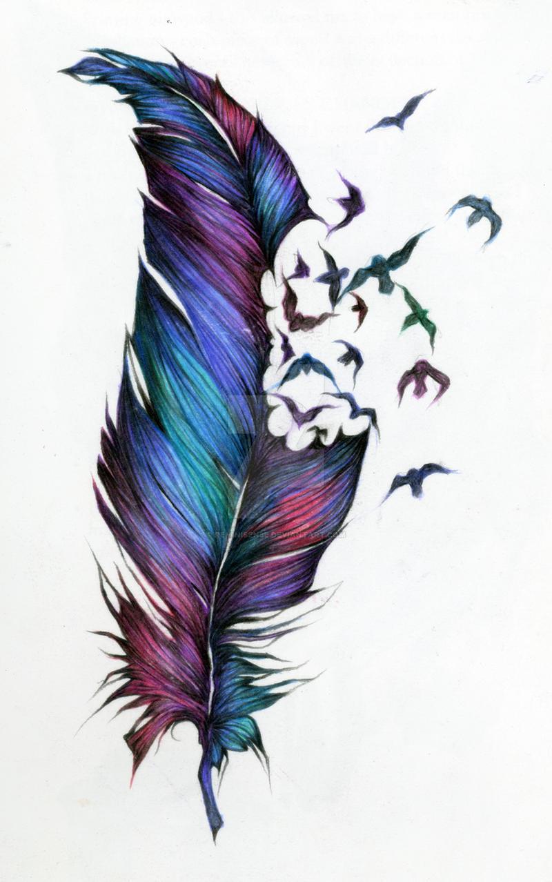 Перья птиц тату цветные