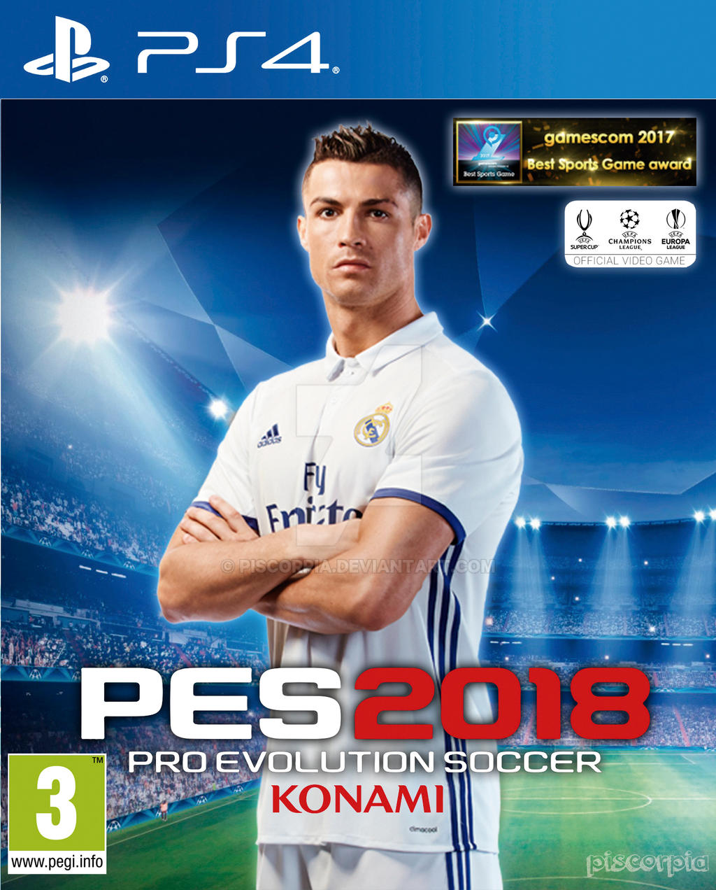 Pes 2018 Cover Real Madrid Cristiano Ronaldo 2 by piscorpia